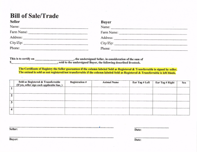 Bill of Sale/Trade Word Document